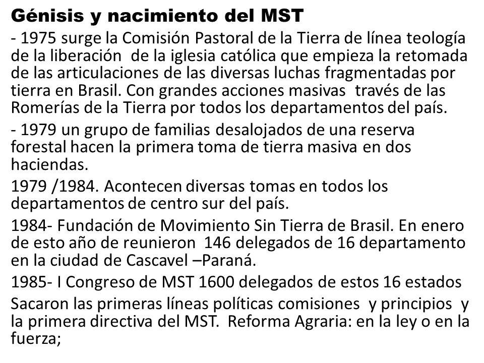 Génisis y nacimiento del MST - 1975 surge la Comisión Pastoral de la Tierra de línea teología de la liberación de la iglesia católica que empieza la r