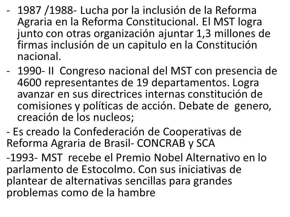-1987 /1988- Lucha por la inclusión de la Reforma Agraria en la Reforma Constitucional. El MST logra junto con otras organización ajuntar 1,3 millones