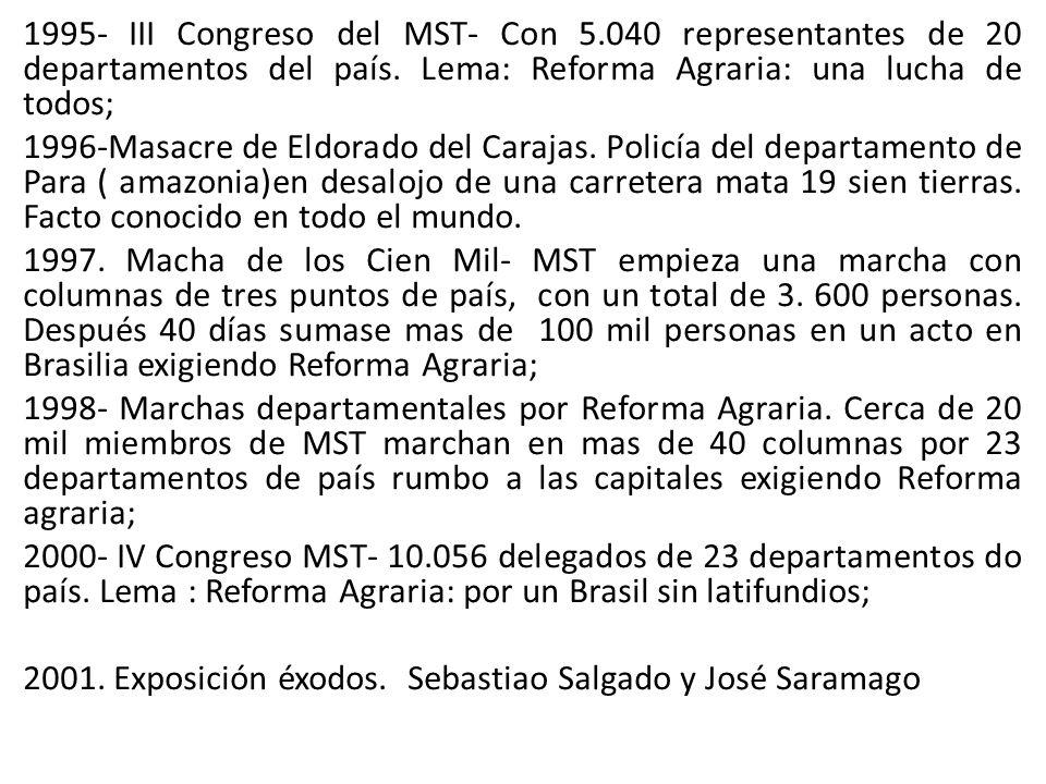 1995- III Congreso del MST- Con 5.040 representantes de 20 departamentos del país. Lema: Reforma Agraria: una lucha de todos; 1996-Masacre de Eldorado