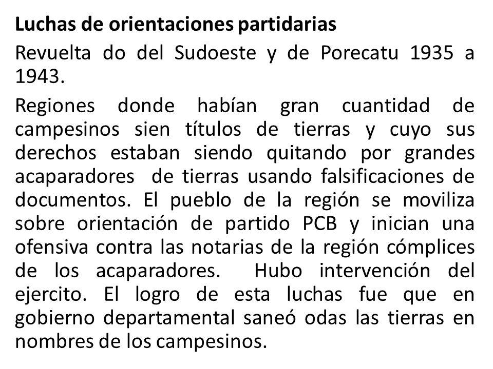 Luchas de orientaciones partidarias Revuelta do del Sudoeste y de Porecatu 1935 a 1943. Regiones donde habían gran cuantidad de campesinos sien título
