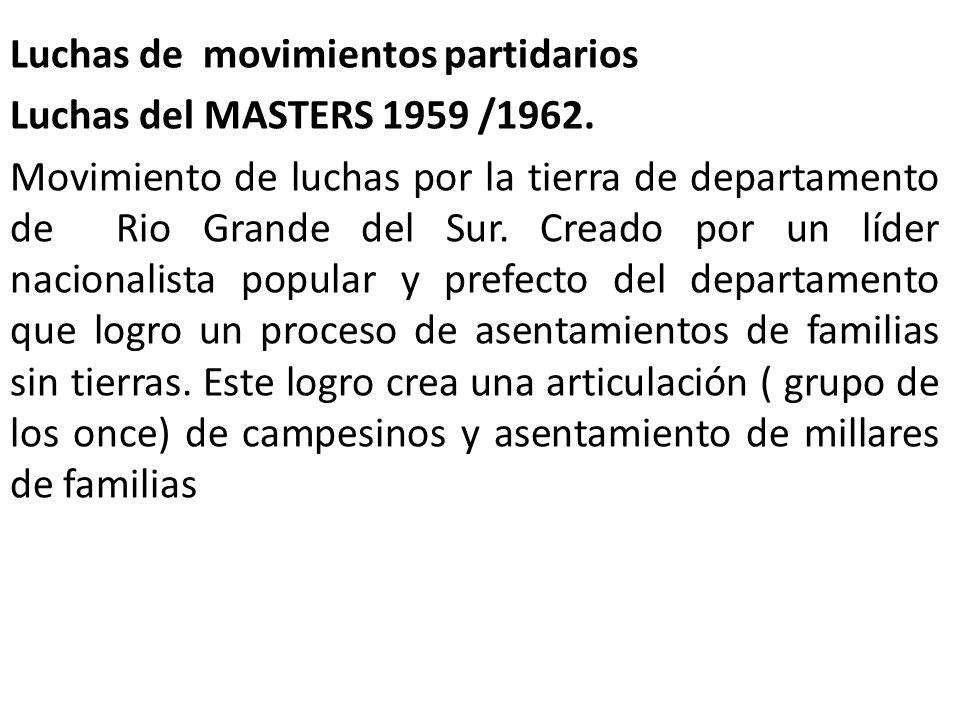 Luchas de movimientos partidarios Luchas del MASTERS 1959 /1962. Movimiento de luchas por la tierra de departamento de Rio Grande del Sur. Creado por
