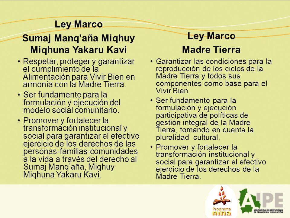 Ley Marco Sumaj Manqaña Miqhuy Miqhuna Yakaru Kavi Respetar, proteger y garantizar el cumplimiento de la Alimentación para Vivir Bien en armonía con l