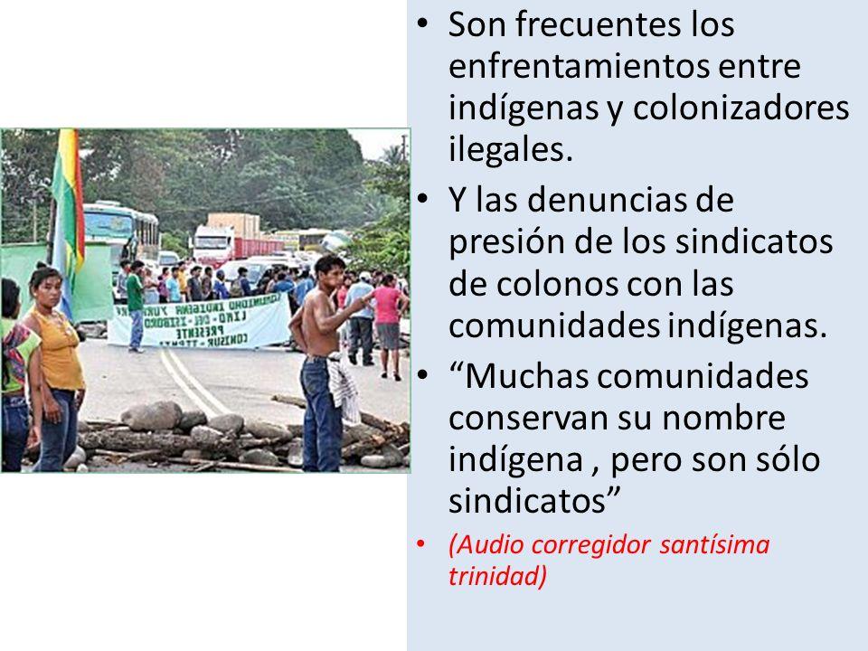 Son frecuentes los enfrentamientos entre indígenas y colonizadores ilegales. Y las denuncias de presión de los sindicatos de colonos con las comunidad