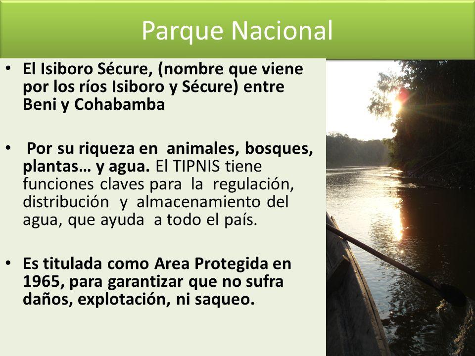 Parque Nacional El Isiboro Sécure, (nombre que viene por los ríos Isiboro y Sécure) entre Beni y Cohabamba Por su riqueza en animales, bosques, planta