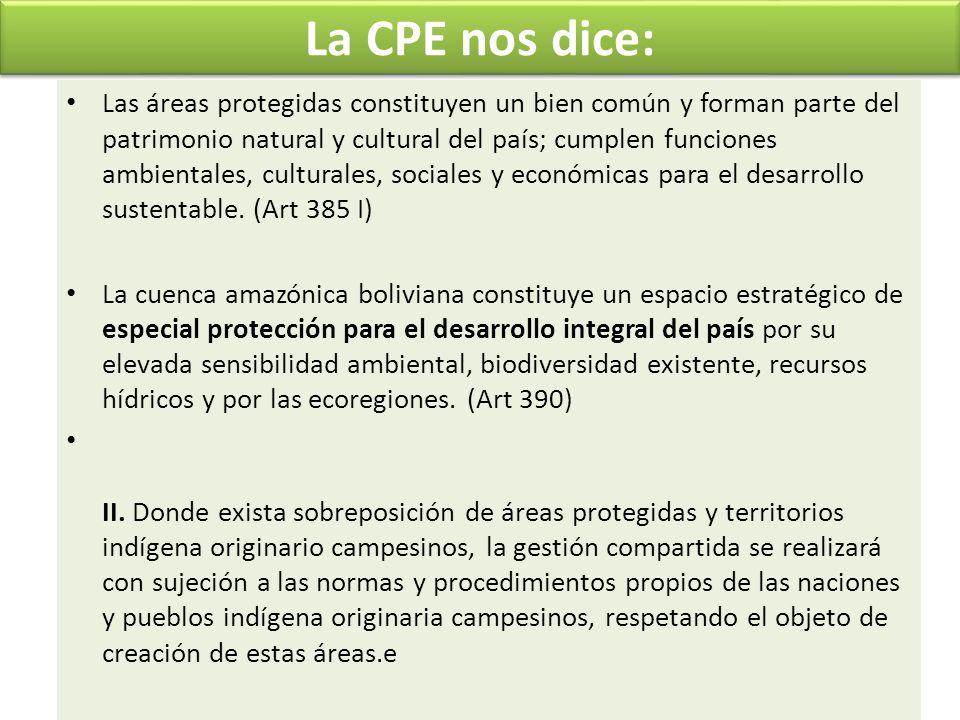 La CPE nos dice: Las áreas protegidas constituyen un bien común y forman parte del patrimonio natural y cultural del país; cumplen funciones ambiental