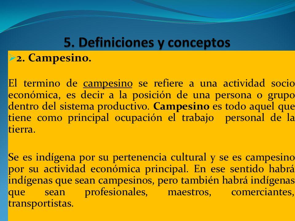 2. Campesino. El termino de campesino se refiere a una actividad socio económica, es decir a la posición de una persona o grupo dentro del sistema pro