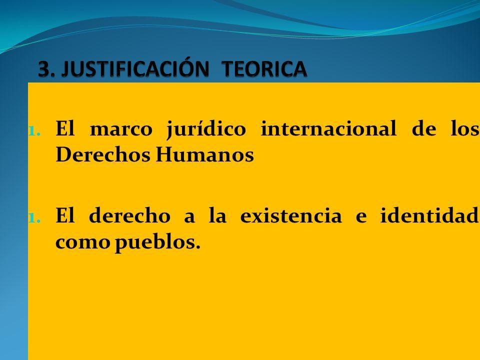1. El marco jurídico internacional de los Derechos Humanos 1. El derecho a la existencia e identidad como pueblos.