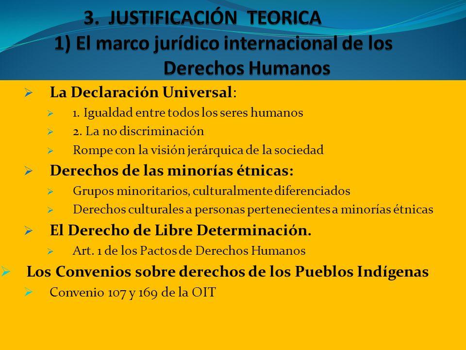 La Declaración Universal: 1. Igualdad entre todos los seres humanos 2. La no discriminación Rompe con la visión jerárquica de la sociedad Derechos de