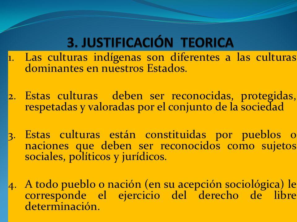 1. Las culturas indígenas son diferentes a las culturas dominantes en nuestros Estados. 2. Estas culturas deben ser reconocidas, protegidas, respetada