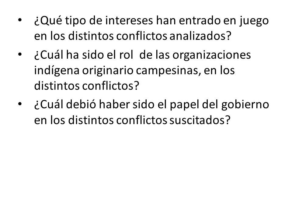 ¿Qué tipo de intereses han entrado en juego en los distintos conflictos analizados.