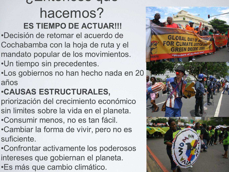 ¿Entonces qué hacemos? ES TIEMPO DE ACTUAR!!! Decisión de retomar el acuerdo de Cochabamba con la hoja de ruta y el mandato popular de los movimientos
