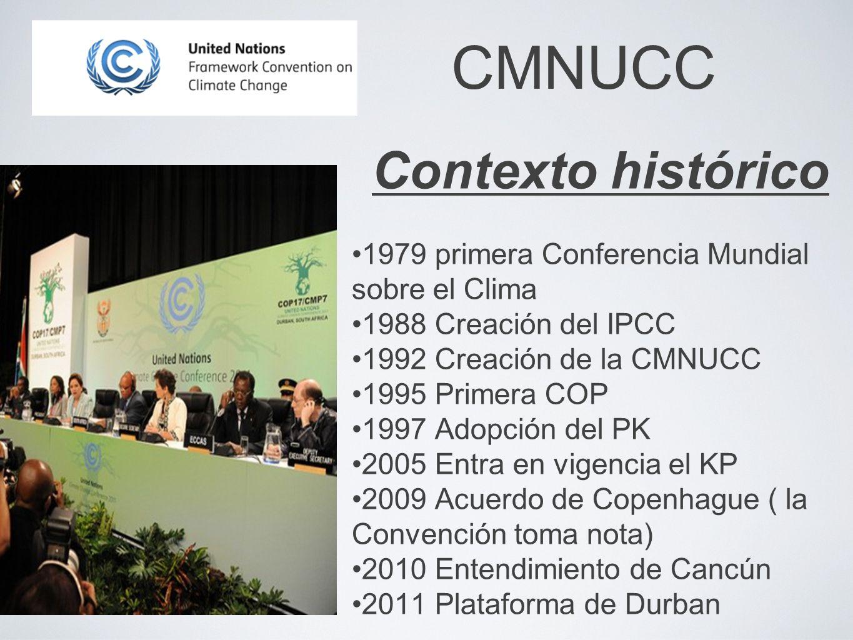 CMNUCC Contexto histórico 1979 primera Conferencia Mundial sobre el Clima 1988 Creación del IPCC 1992 Creación de la CMNUCC 1995 Primera COP 1997 Adop