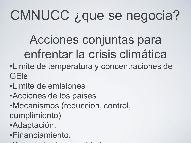 CMNUCC ¿que se negocia? Acciones conjuntas para enfrentar la crisis climática Limite de temperatura y concentraciones de GEIs Limite de emisiones Acci