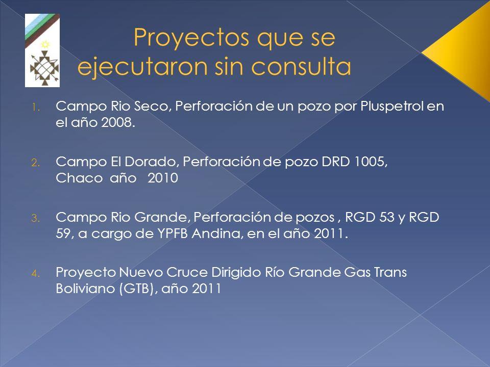 1. Campo Rio Seco, Perforación de un pozo por Pluspetrol en el año 2008. 2. Campo El Dorado, Perforación de pozo DRD 1005, Chaco año 2010 3. Campo Rio