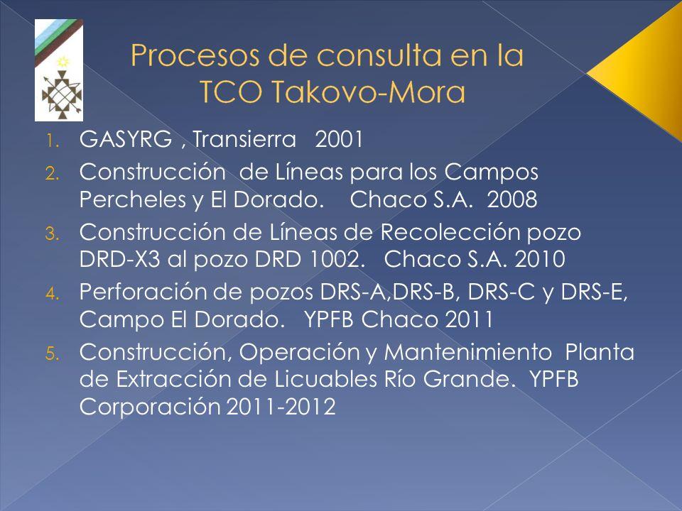 1. GASYRG, Transierra 2001 2. Construcción de Líneas para los Campos Percheles y El Dorado. Chaco S.A. 2008 3. Construcción de Líneas de Recolección p