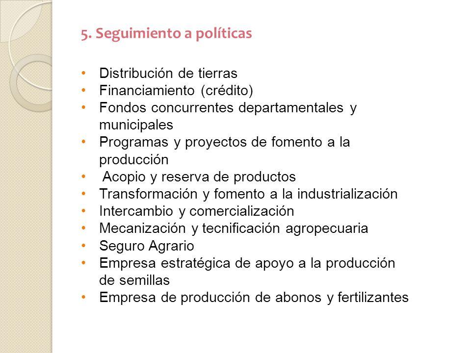 5. Seguimiento a políticas Distribución de tierras Financiamiento (crédito) Fondos concurrentes departamentales y municipales Programas y proyectos de