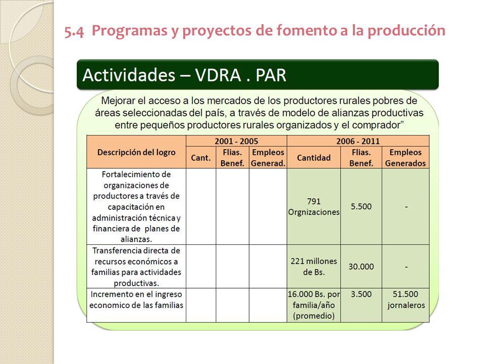 5.4 Programas y proyectos de fomento a la producción