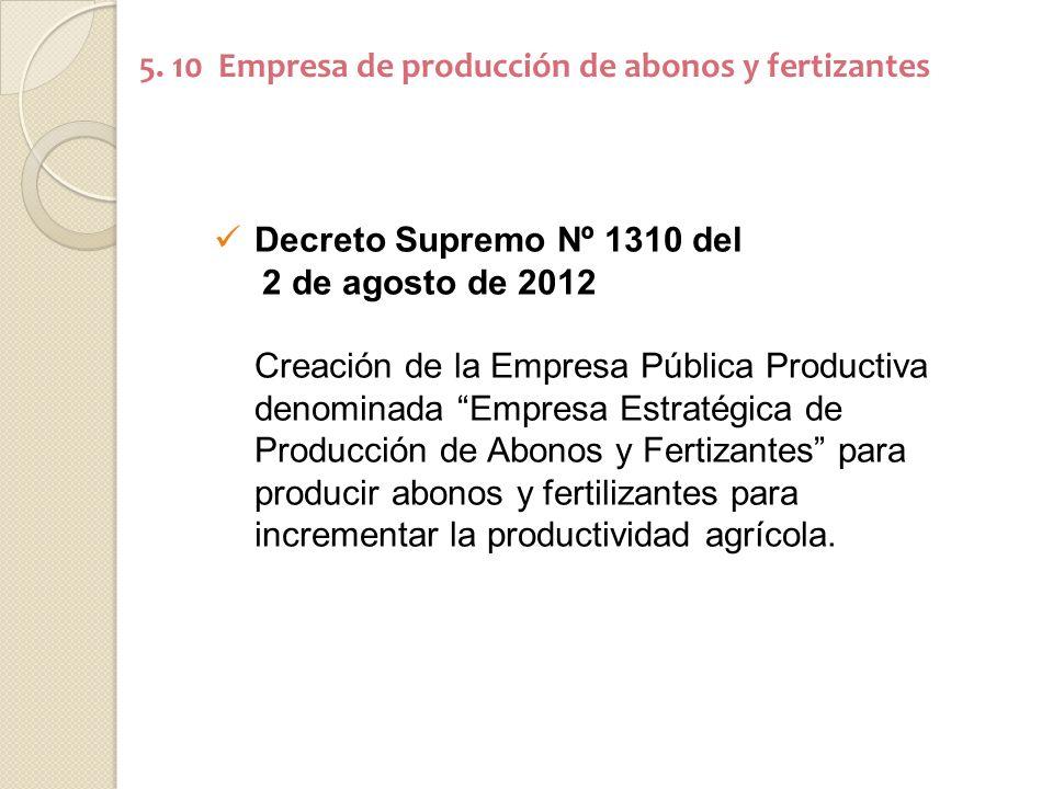 5. 10 Empresa de producción de abonos y fertizantes Decreto Supremo Nº 1310 del 2 de agosto de 2012 Creación de la Empresa Pública Productiva denomina