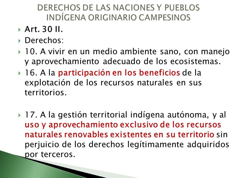 Art. 30 II. Derechos: 10. A vivir en un medio ambiente sano, con manejo y aprovechamiento adecuado de los ecosistemas. 16. A la participación en los b