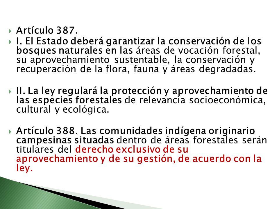 Artículo 387. I. El Estado deberá garantizar la conservación de los bosques naturales en las áreas de vocación forestal, su aprovechamiento sustentabl