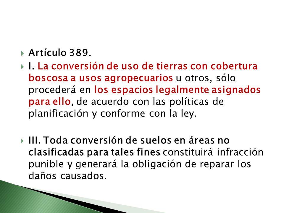 Artículo 389. I. La conversión de uso de tierras con cobertura boscosa a usos agropecuarios u otros, sólo procederá en los espacios legalmente asignad