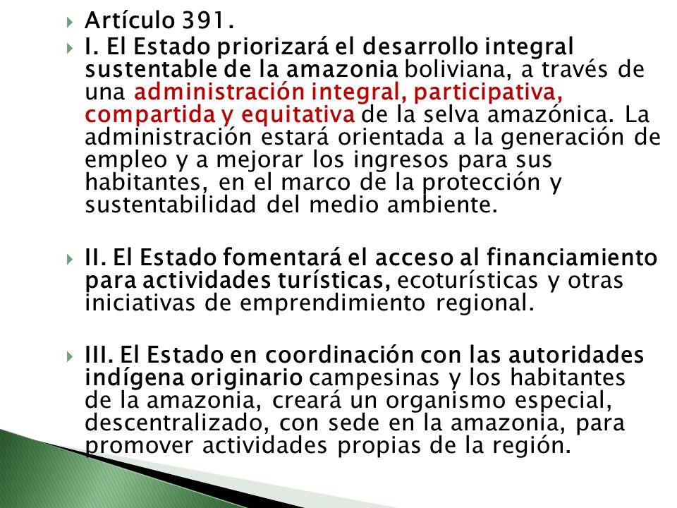 Artículo 391. I. El Estado priorizará el desarrollo integral sustentable de la amazonia boliviana, a través de una administración integral, participat