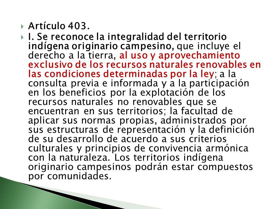 Artículo 403. I. Se reconoce la integralidad del territorio indígena originario campesino, que incluye el derecho a la tierra, al uso y aprovechamient