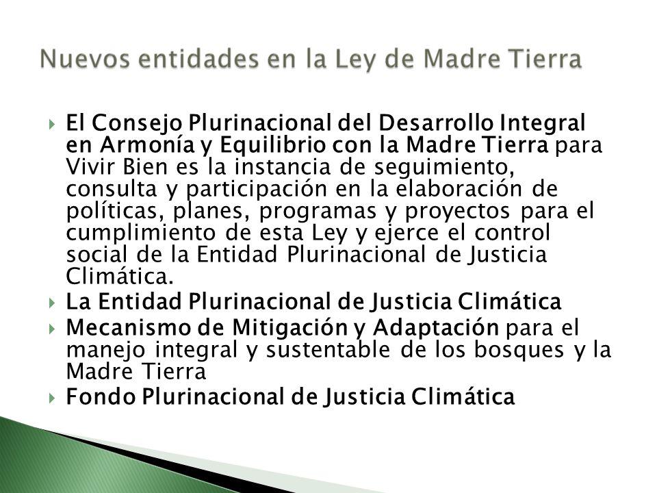 El Consejo Plurinacional del Desarrollo Integral en Armonía y Equilibrio con la Madre Tierra para Vivir Bien es la instancia de seguimiento, consulta