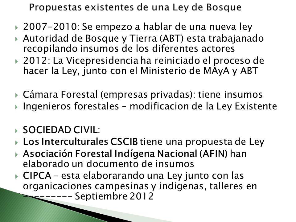 2007-2010: Se empezo a hablar de una nueva ley Autoridad de Bosque y Tierra (ABT) esta trabajanado recopilando insumos de los diferentes actores 2012: