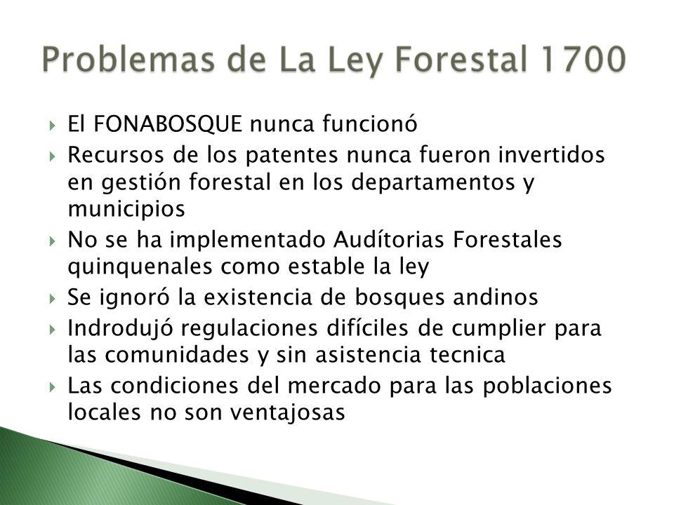 El FONABOSQUE nunca funcionó Recursos de los patentes nunca fueron invertidos en gestión forestal en los departamentos y municipios No se ha implement