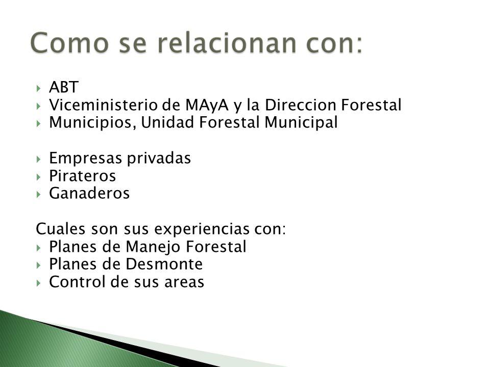 ABT Viceministerio de MAyA y la Direccion Forestal Municipios, Unidad Forestal Municipal Empresas privadas Pirateros Ganaderos Cuales son sus experien