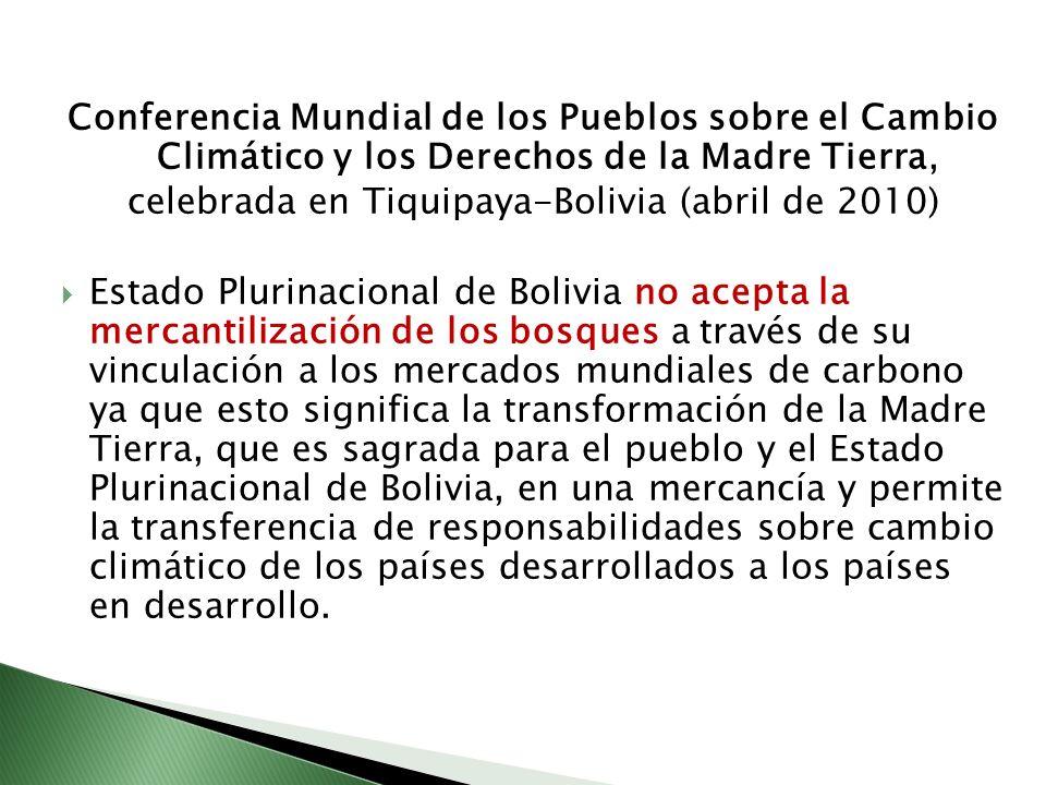 Conferencia Mundial de los Pueblos sobre el Cambio Climático y los Derechos de la Madre Tierra, celebrada en Tiquipaya-Bolivia (abril de 2010) Estado