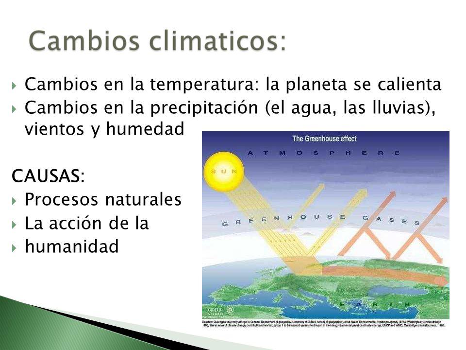 Cambios en la temperatura: la planeta se calienta Cambios en la precipitación (el agua, las lluvias), vientos y humedad CAUSAS: Procesos naturales La