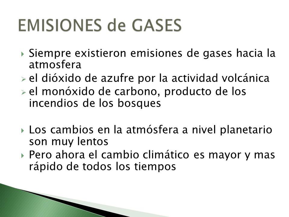 Siempre existieron emisiones de gases hacia la atmosfera el dióxido de azufre por la actividad volcánica el monóxido de carbono, producto de los incen
