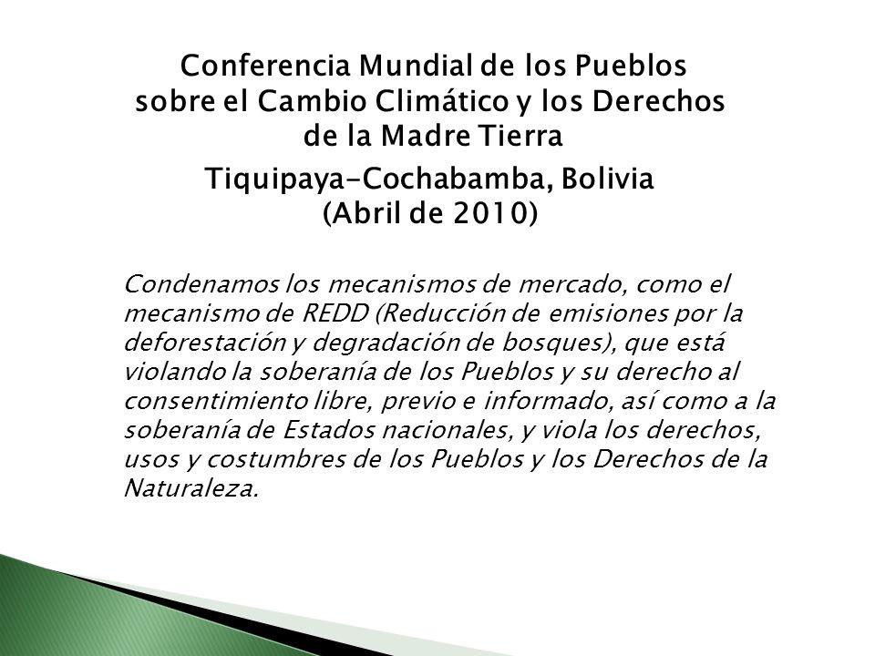 Condenamos los mecanismos de mercado, como el mecanismo de REDD (Reducción de emisiones por la deforestación y degradación de bosques), que está viola
