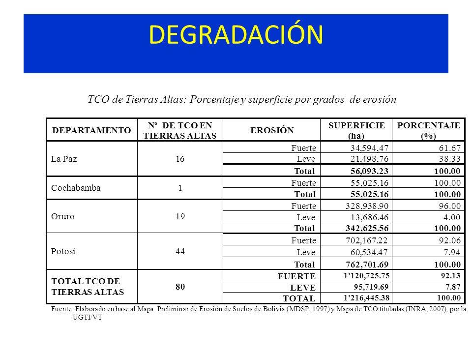 DEGRADACIÓN TCO de Tierras Altas: Porcentaje y superficie por grados de erosión DEPARTAMENTO Nº DETCOEN TIERRAS ALTAS EROSIÓN SUPERFICIE (ha) PORCENTA