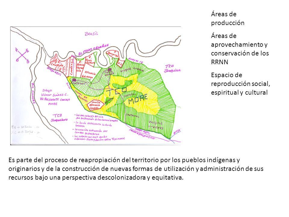 Áreas de producción Áreas de aprovechamiento y conservación de los RRNN Espacio de reproducción social, espiritual y cultural
