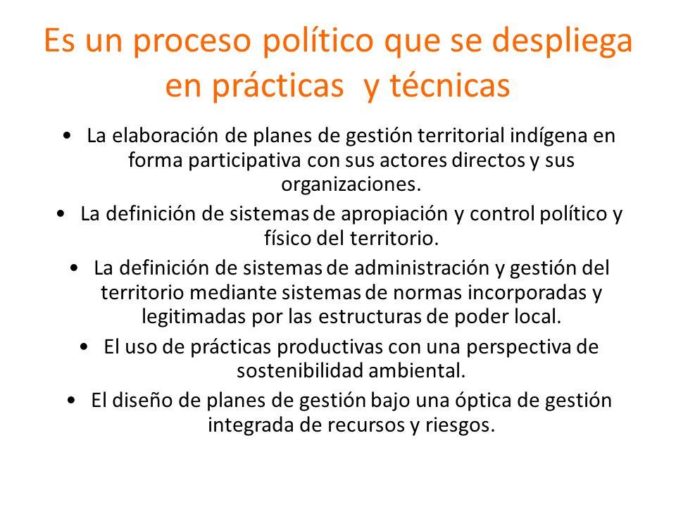 Es un proceso político que se despliega en prácticas y técnicas La elaboración de planes de gestión territorial indígena en forma participativa con su