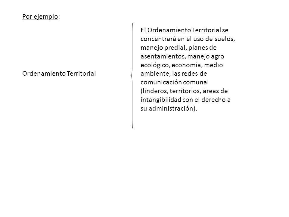Ordenamiento Territorial El Ordenamiento Territorial se concentrará en el uso de suelos, manejo predial, planes de asentamientos, manejo agro ecológic