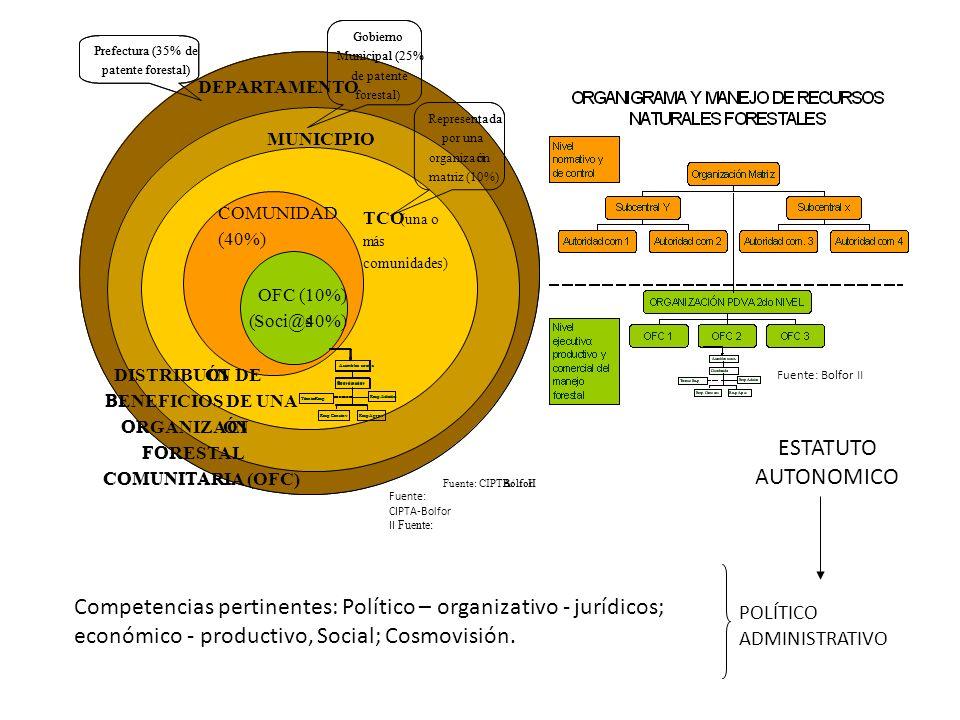 OFC (10%) (Soci@s40%) TCO (una o más comunidades) COMUNIDAD (40%) Representada por una organización matriz (10%) Fuente: CIPTA/BolforII Gobierno Munic