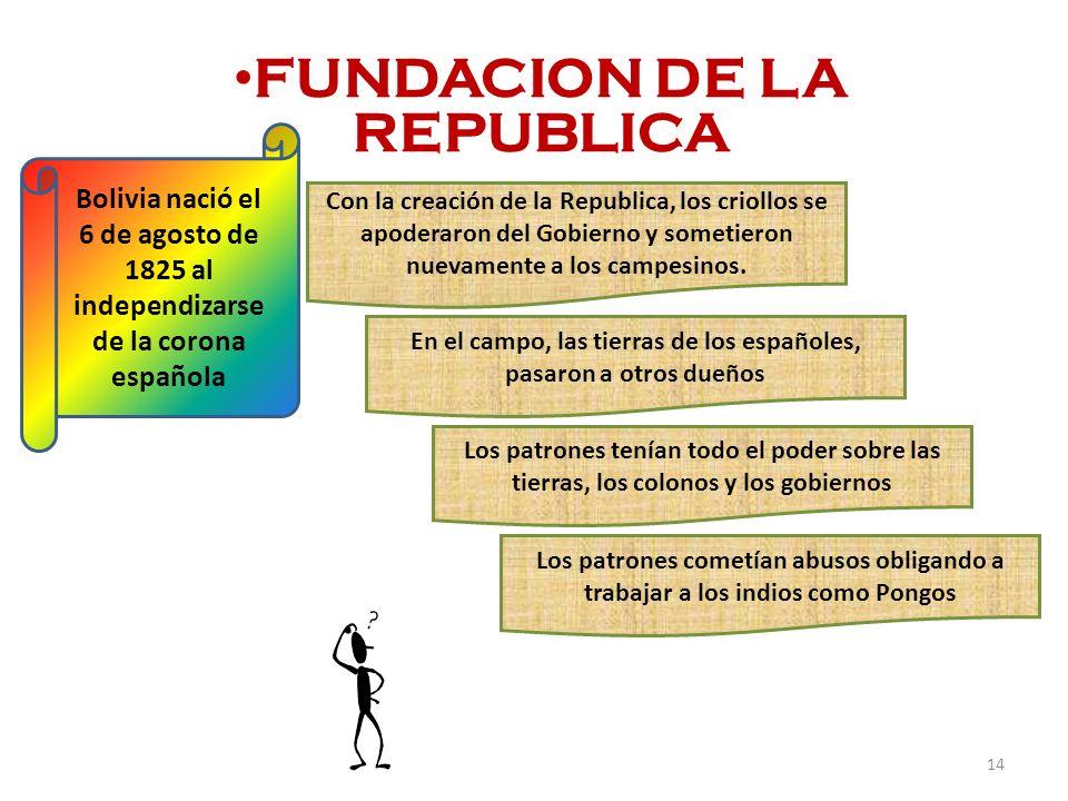 FUNDACION DE LA REPUBLICA Bolivia nació el 6 de agosto de 1825 al independizarse de la corona española Con la creación de la Republica, los criollos s