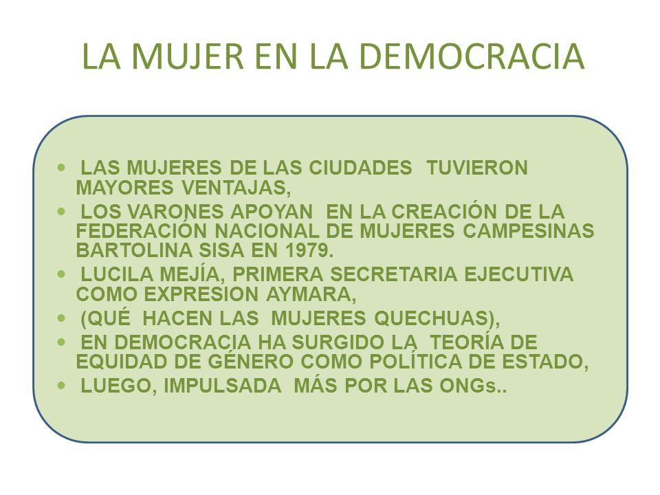 LA MUJER EN LA DEMOCRACIA LAS MUJERES DE LAS CIUDADES TUVIERON MAYORES VENTAJAS, LOS VARONES APOYAN EN LA CREACIÓN DE LA FEDERACIÓN NACIONAL DE MUJERE