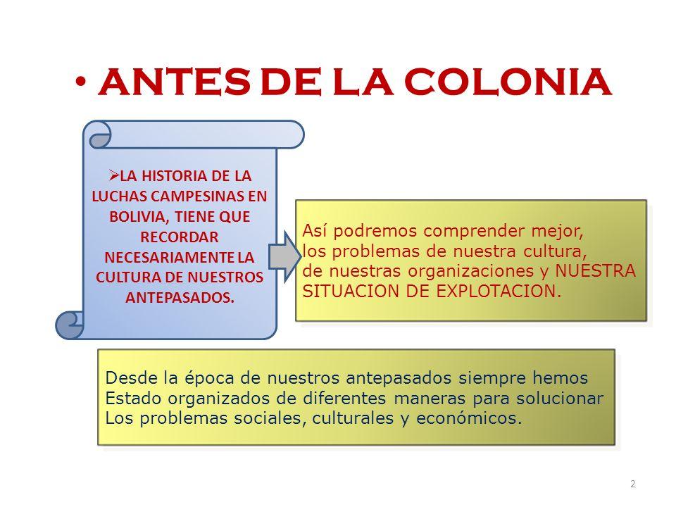 ANTES DE LA COLONIA LA HISTORIA DE LA LUCHAS CAMPESINAS EN BOLIVIA, TIENE QUE RECORDAR NECESARIAMENTE LA CULTURA DE NUESTROS ANTEPASADOS. Así podremos