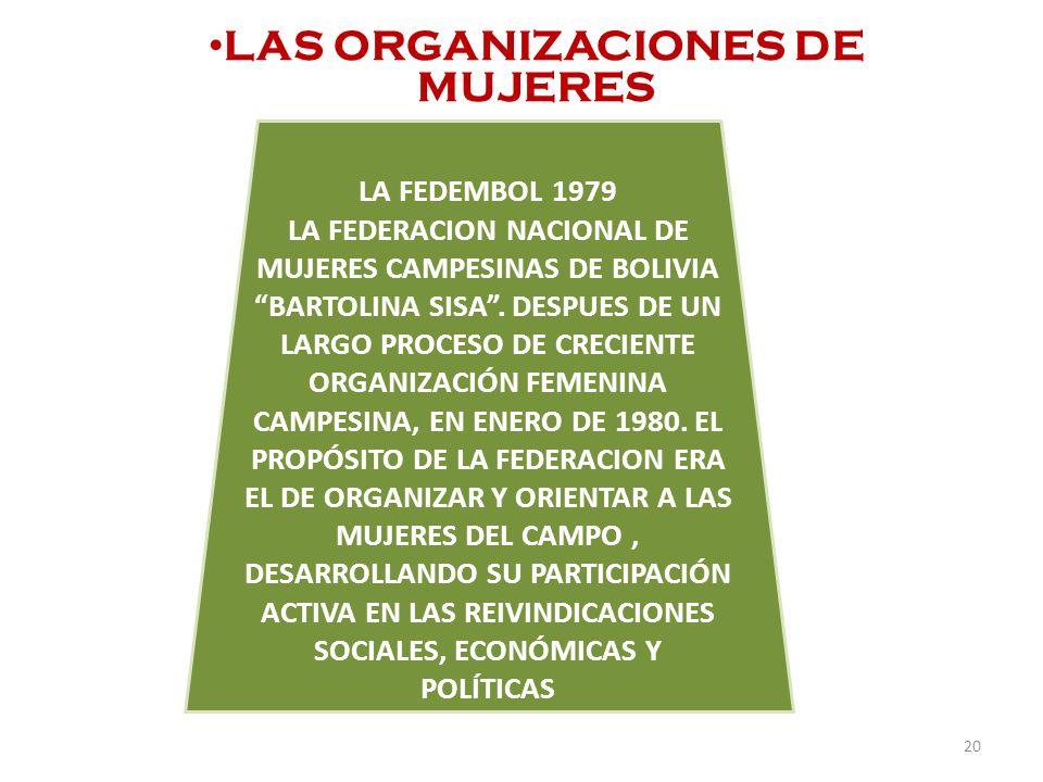 LAS ORGANIZACIONES DE MUJERES LA FEDEMBOL 1979 LA FEDERACION NACIONAL DE MUJERES CAMPESINAS DE BOLIVIA BARTOLINA SISA. DESPUES DE UN LARGO PROCESO DE