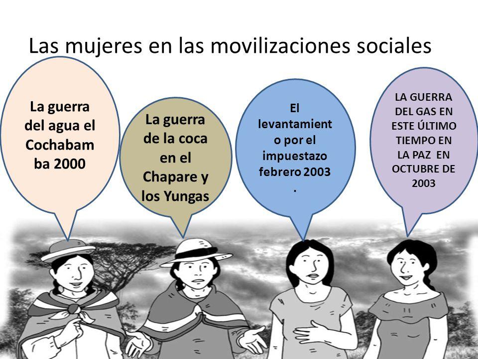 Las mujeres en las movilizaciones sociales La guerra del agua el Cochabam ba 2000 La guerra de la coca en el Chapare y los Yungas El levantamient o po