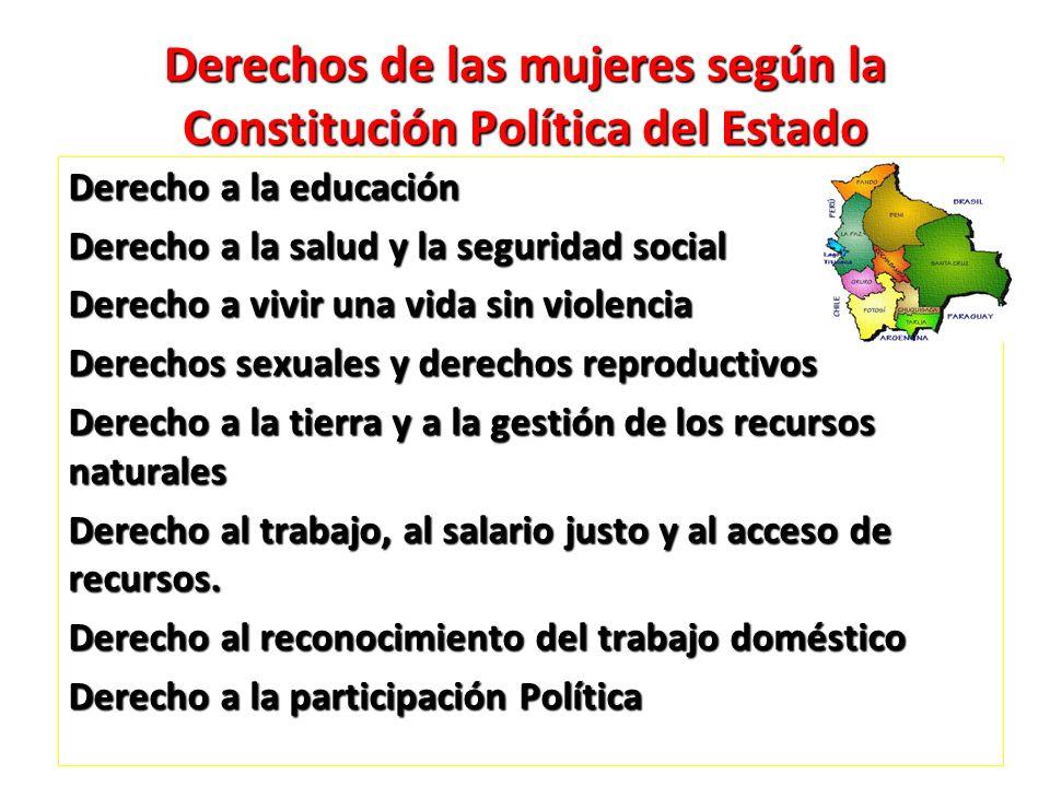 Derechos de las mujeres según la Constitución Política del Estado Derecho a la educación Derecho a la salud y la seguridad social Derecho a vivir una
