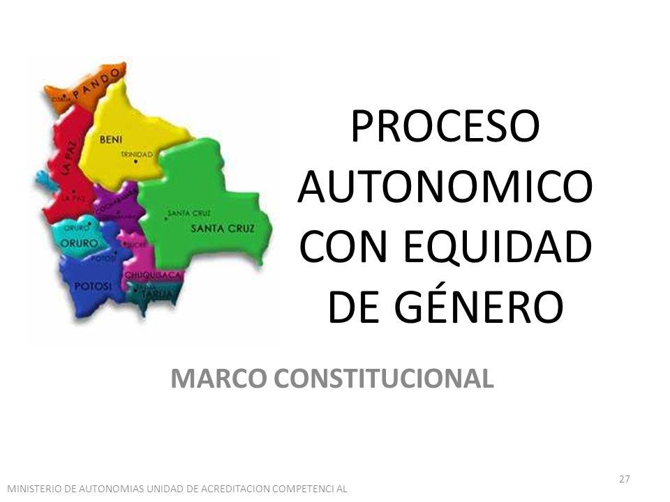 PROCESO AUTONOMICO CON EQUIDAD DE GÉNERO MARCO CONSTITUCIONAL MINISTERIO DE AUTONOMIAS UNIDAD DE ACREDITACION COMPETENCI AL 27