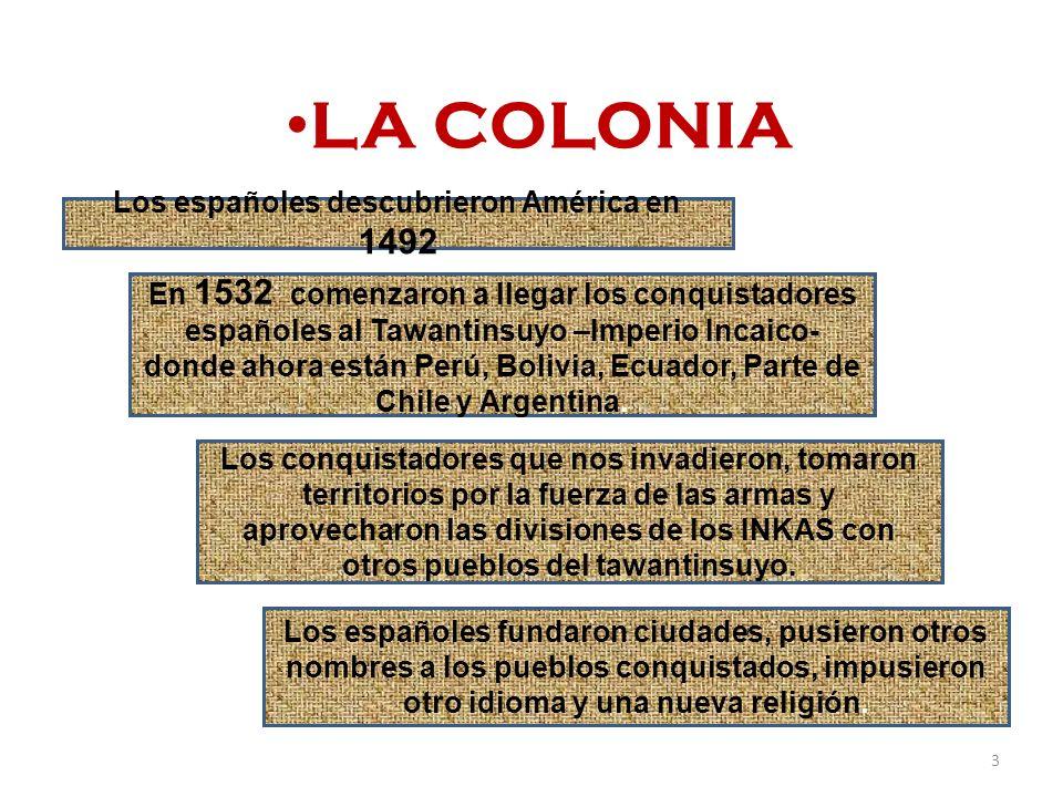 FUNDACION DE LA REPUBLICA Bolivia nació el 6 de agosto de 1825 al independizarse de la corona española Con la creación de la Republica, los criollos se apoderaron del Gobierno y sometieron nuevamente a los campesinos.