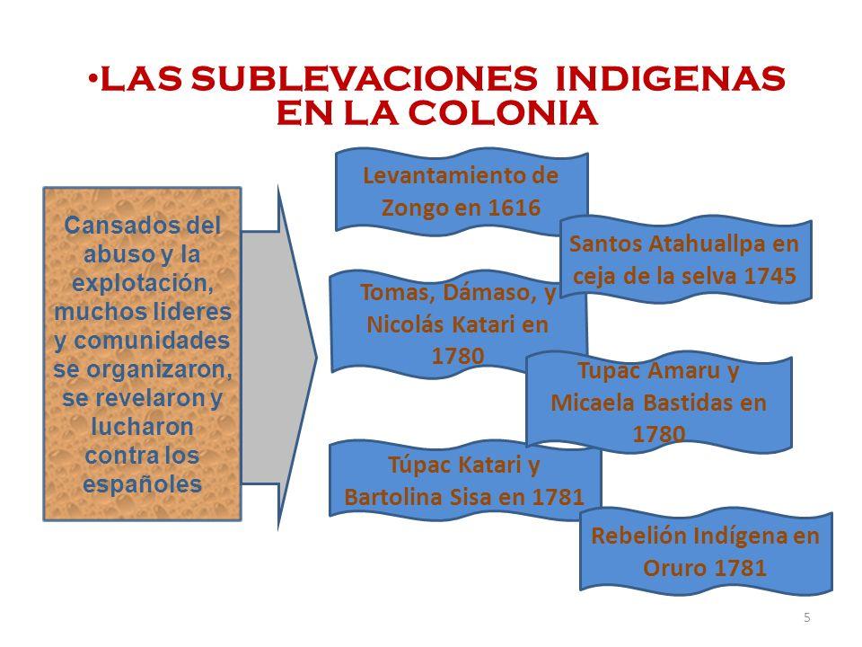 LAS SUBLEVACIONES INDIGENAS EN LA COLONIA Cansados del abuso y la explotación, muchos lideres y comunidades se organizaron, se revelaron y lucharon co