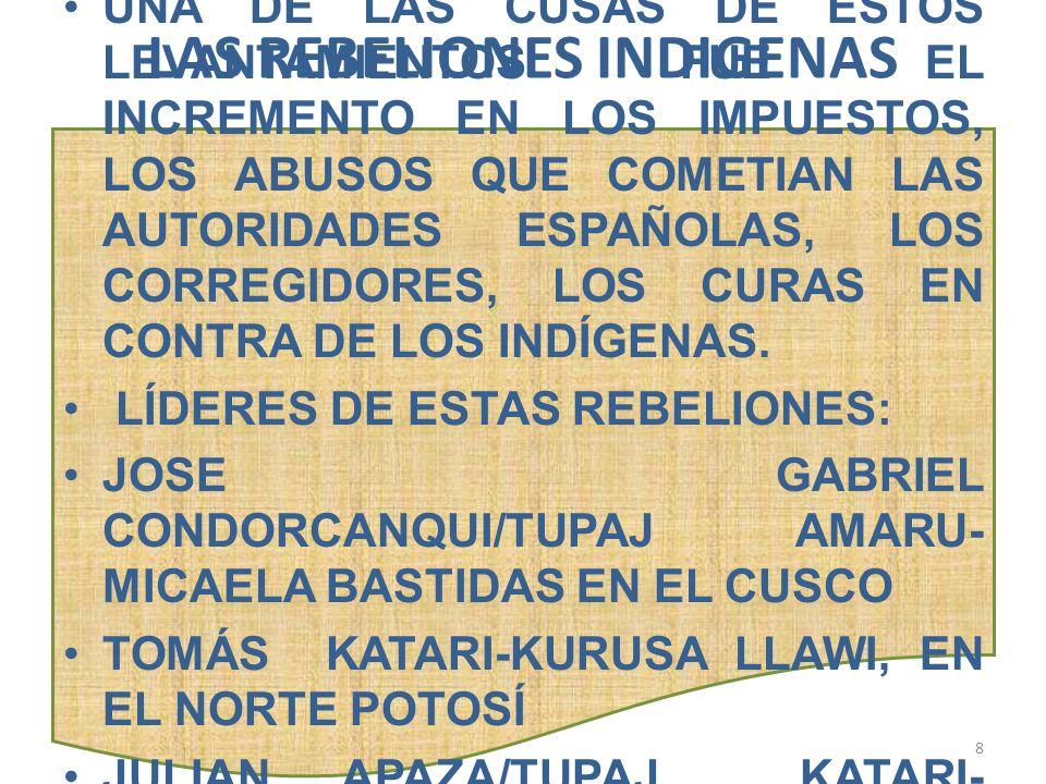BARTOLINA SISA ESPOSA DE TUPAJ AMARU, NACIÓ EN CARACATO (ACTUAL PROVINCIA LOAYZA – LA PAZ) FUE NOMBRADA VIRREINA POR LOS REBELDES Y COMANDO UN SECTOR IMPORTANTE DEL EJERCITO INDIO, UBICANDO SU CUARTEL GENERAL EN PAMPAJASI.